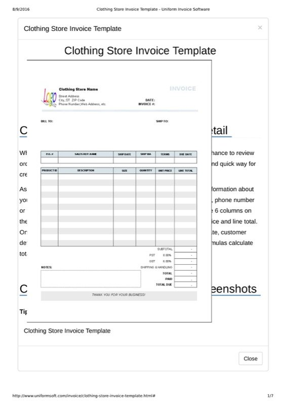 free clothing store receipt template