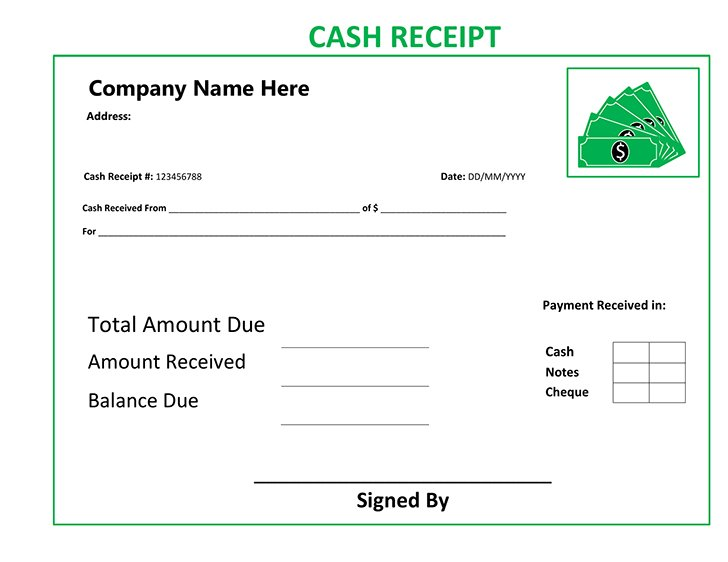 free free cash receipt template