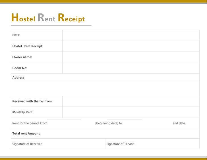 Rent Receipt Template | Free Hostel Rent Receipt Template
