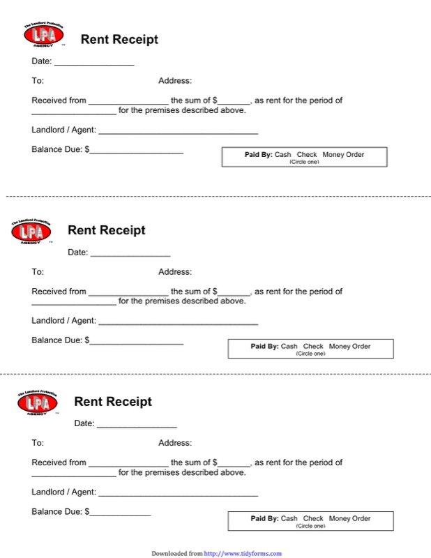 Free Landlord Rent Receipt Template