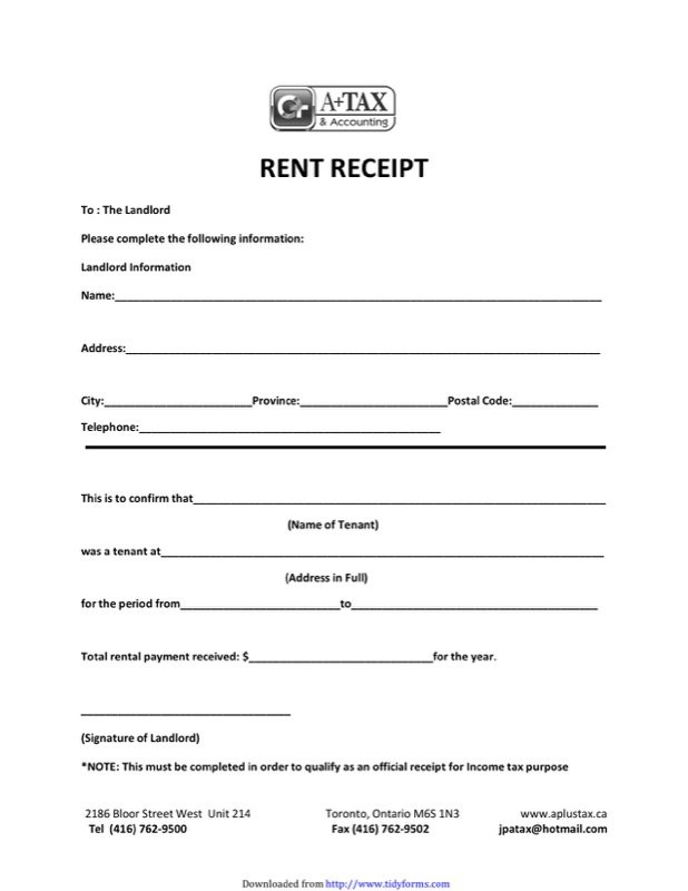 free rental payment receipt
