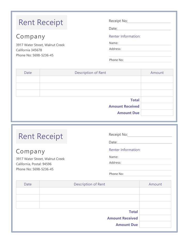 sample rental receipt template