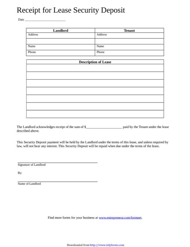 Printable Deposit Receipt For Rental Restaurant Interior Design